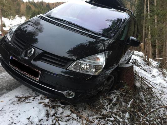 Das Fahrzeug blieb glücklicherweise an einem Baumstamm am Straßenrand hängen