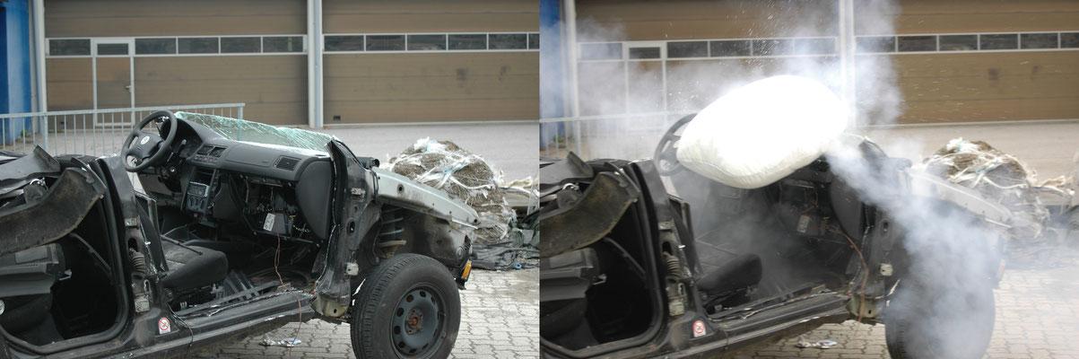 Zündung des Beifahrer-Airbags