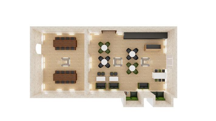 visualisations 3D d'un espace lounge