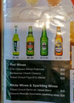 Aufgrund der Steuer auf Wein ist dieser unbezahlbar teuer in Singapur und Malaysia
