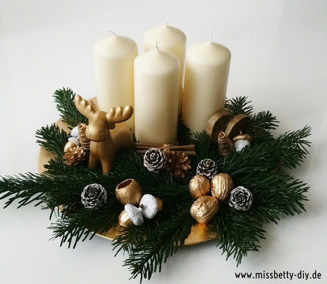 adventskranz in gold silber diy miss betty diy diy. Black Bedroom Furniture Sets. Home Design Ideas