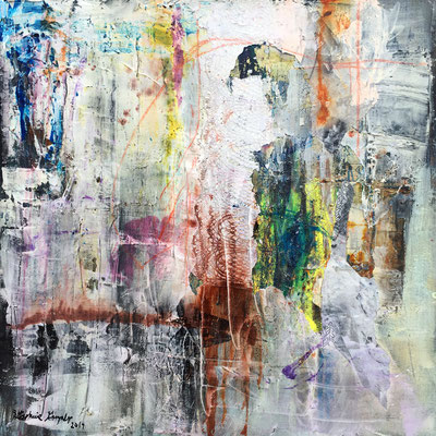 Us | (36 x 36 in) | caulking, ink, plastic, acrylic and oil stick on canvas | SOLD