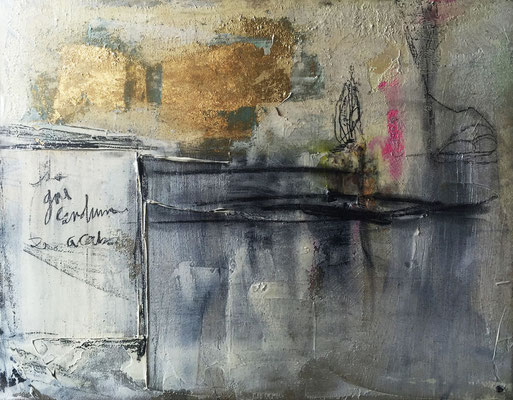 Lo que Construimos se Acabo | (34 x 26 in) | gold leaf, acrylic, paper, caulking, charcoal and graphite on canvas | SOLD