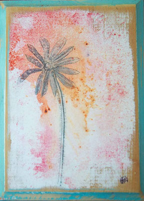 Flores VI | (7 x 5 in) | dye, graphite and acrylic on wood panel | SOLD