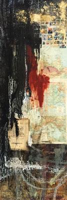 2015 Escapist |  (15.25 x 48.25 in) |  paper, coffee, oil stick,  | SOLD