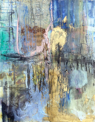 Fresh Start | (30 x 24 in) | acrylic, gold leaf, plastic, charcoal, resin and mixed media on canvas | SOLD
