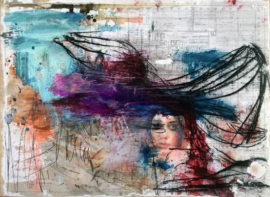 """""""If You Were Here""""   acrylic, graphite, charcoal and ink on paper mounted on panel   (30"""" x 42"""")   SOLD"""