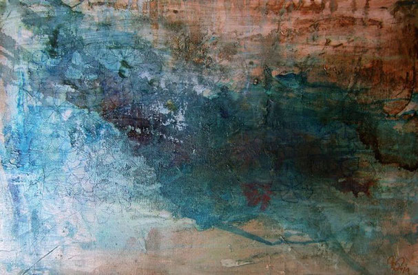 """Me Haces Feliz"" (20""x30"") | mixed media on canvas | SOLD"