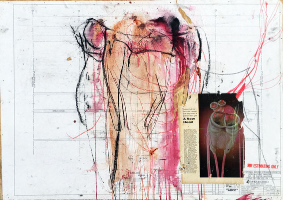 """""""A New Heart""""   dye, charcoal, marker, acryic and paper on paper mounted on wood panel   (30"""" x 42"""")   SOLD"""