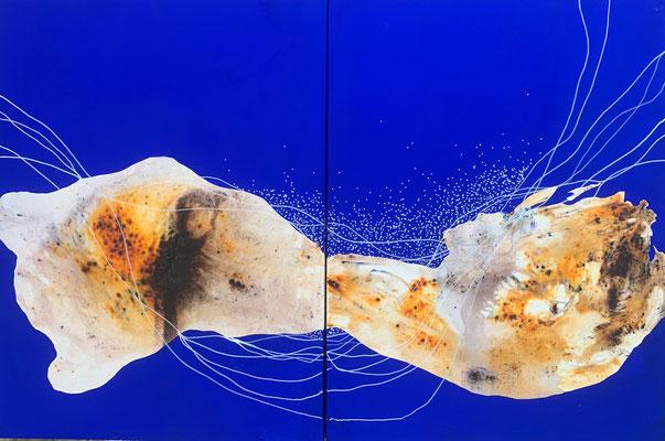 Espacio (diptych)  | (24 x 36 in) | acrylic, gouache and dye on canvas | AVAILABLE