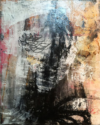 Semillas De Ti (16 x 20 in) | paper, coffee, acrylic, charcoal and graphite on canvas  | SOLD