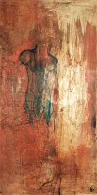 Baya | (24 x 48 in) | ink, acrylic and coffee on canvas | SOLD
