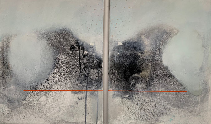 Dystopia I & II (diptych) | (20 x 16 in) | acrylic, charcoal and gouache on canvas | AVAILABLE