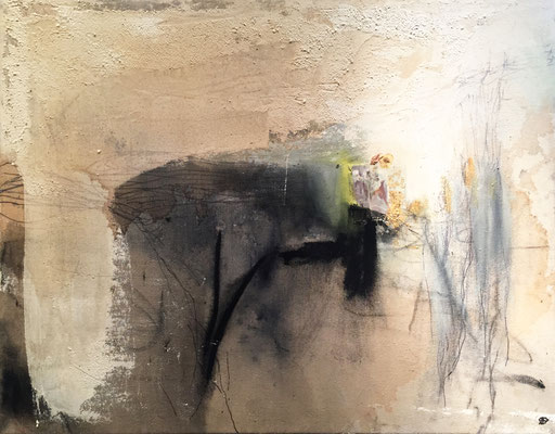 Dancing And Advancing To The Light | (34 x 26 in) | acrylic, coffee, plaster, graphite and flowers on canvas | SOLD