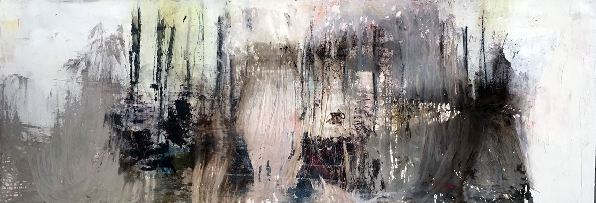 Tomorrow Always Happens Yesterday | (94.5 x 23 in) | plaster, charcoal, acrylic and dye on canvas | SOLD