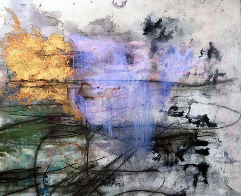 """""""The Space Between The Beauty and The Pain""""   gold leaf, charcoal, acrylic, dye and ink on canvas   (54"""" x 78"""")   SOLD"""