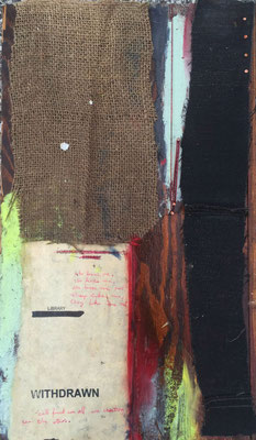 Anxiety | (16 x 9.5 in) | burlap, paper, ink, acrylic, oil pastel and nails on panel | SOLD