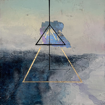 Know Thyself II | (19 x 19 x 2 in) | acrylic, gouache and gold leaf on panel | AVAILABLE