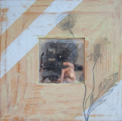 Flores II | (12 x 12 in) | acrylic and graphite on wood panel with mirror | SOLD