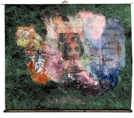 Cinematic | (83 x 73 in) | acrylic, paper, dye and aerosol on reused vinyl projector screen | AVAILABLE