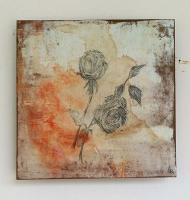 Rosalitos | (12 x 12 in) | acrylic, ink, graphite, coffee and ink on panel | SOLD