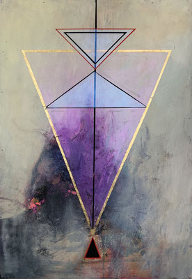The Alignment | (30.5 X 20.5 in ) | acrylic, gouache, gold leaf and mixed media on panel | SOLD