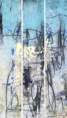 Changes I, II, III | (47.75 x 7.25 in) | gold leaf, graphite, caulking, ink and acrylic on panel | SOLD