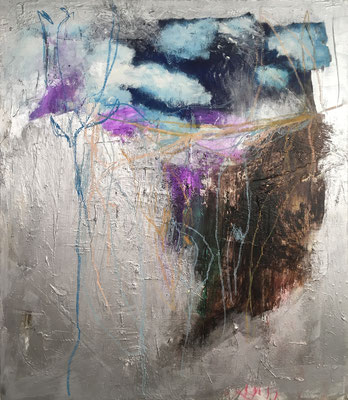 """""""Silver Lining""""   acrylic, pastel and caulking on canvas   (48.8"""" x 42"""")   AVAILABLE"""