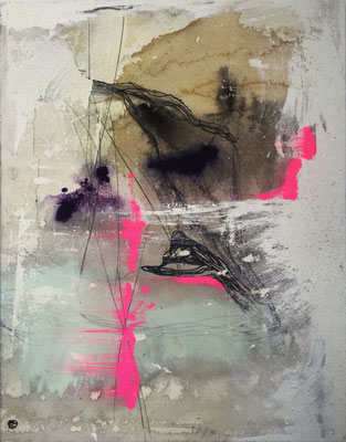 Chemistry | (34 x26 in) | coffee, ink, solid marker, plaster and mixed media on canvas | SOLD