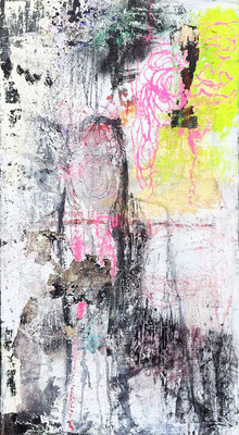 Time Will Unfold What's Really There | (24 x 48in) | solid marker, charcoal, ink, graphite and mixed media on canvas | SOLD
