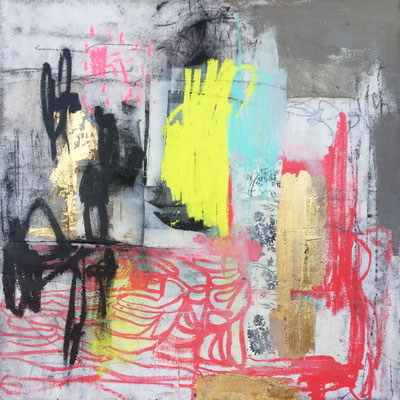 Set Her Free | (36 x 36 in) | solid marker, oil pastel, gold leaf, graphite and charcoal on canvas | SOLD