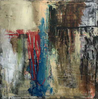 """""""It Changed""""   caulking, pigment, ink, acrylic, coffee and pastel on canvas   (48"""" x 48"""")   SOLD"""