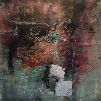 Cultivating New Energy | (36 x 36 in) | silver leaf, acrylic, dye, oil pastel and mixed media on canvas | SOLD