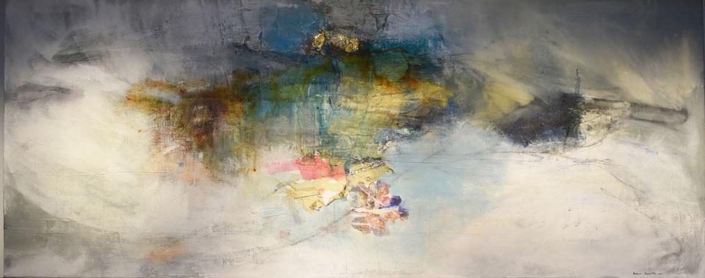 """Desolacion"" | acrylic, dye, paper, caulking and mixed media on canvas | (41"" x 100"") | AVAILABLE"