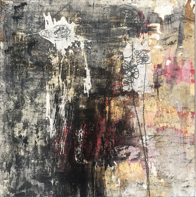 Always Hoping | (20.5 x 20.5 in) | acrylic, coffee, graphite, ink, plaster and mixed media on panel | SOLD