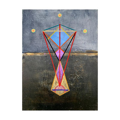 Equilibrar | (12 x 9 in) | acrylic, gold leaf and gouache on wood panel | SOLD