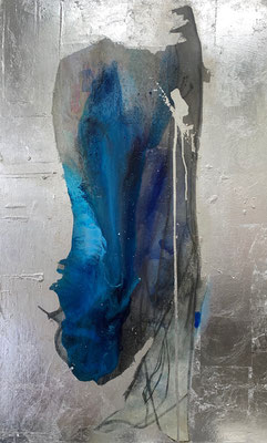 Azul | (47 x 29 in) | acrylic, graphite, silver leaf and dye on canvas | (47 x 29 in) | SOLD