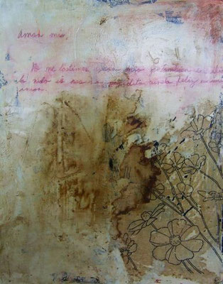 Amor Mio | (20 x 14 in) | coffee, ink, paper, acrylic and color pencil on canvas | SOLD