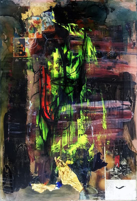 """""""Changing Paths""""   paper, acrylic, charcoal, ink, gold leaf, shoe polish and aerosol on acrylic panel   (25"""" x 17"""")   SOLD"""