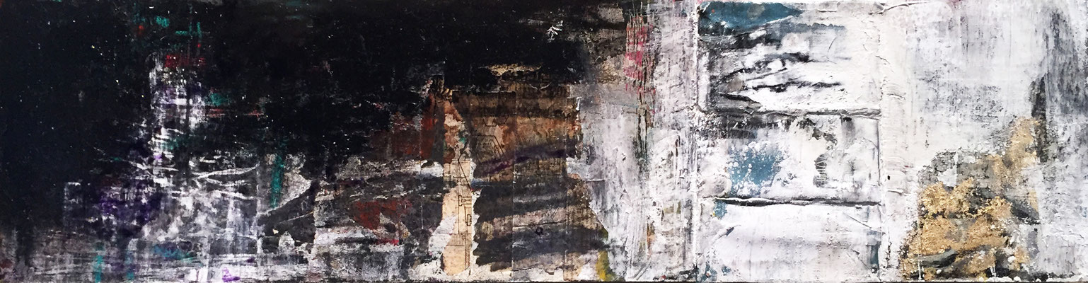 Nothing Was The Same | (9.5 x 39 in) | paper, oil stick, acrylic, plaster, graphite and charcoal on panel | SOLD