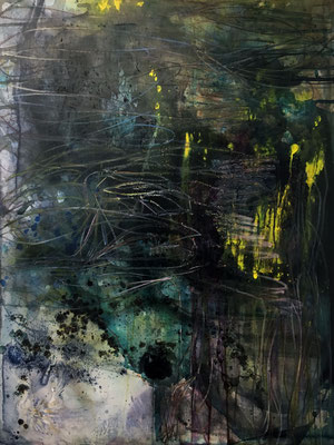 The Forest | (60 x 48 in) | dye, ink, charcoal, acrylic and dye on wood  panel | SOLD