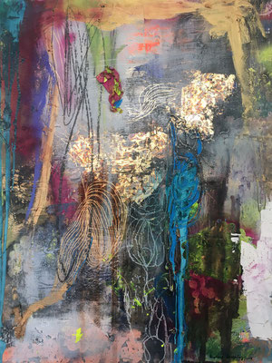 """""""Where Did You Go? I came Home"""" (47.5"""" x 34"""") mixed media on panel (COLLABORATION WITH HADLEY BLIX 