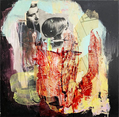 Contained | (24 x 24in) | paper, acrylic, dye and mixed media on canvas| AVAILABLE