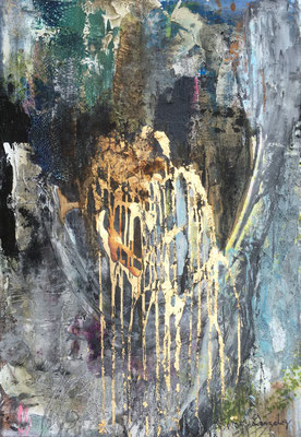 The Vault | (30x24 in) | gold leaf, charcoal, plaster, plastic, graphite and mixed media on canvas | SOLD