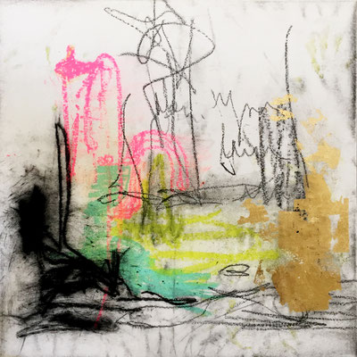 The Lingering Fire | (36 x 36 in) | solid marker, oil pastel, gold leaf, graphite and charcoal on canvas | SOLD