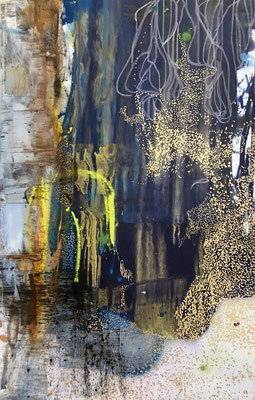 Move On | (29 x 47 in) | acrylic, dye, oil pastel and mixed media on canvas | SOLD