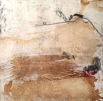 You Get What You Give | (19.5 x 19.5 in) | paper, coffee, acrylic, charcoal and graphite on canvas | SOLD