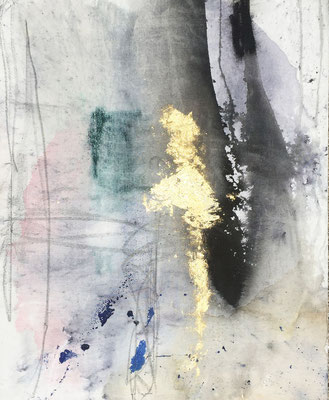 Aurora | (26 x 34 in) | ink, gold leaf, graphite and acrylic on canvas | SOLD