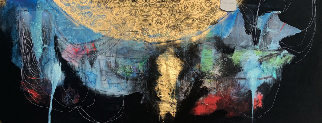 Nothing is Promised | (94 X 37 in) | charcoal, gold leaf, acrylic, gouache and mixed media on canvas | SOLD