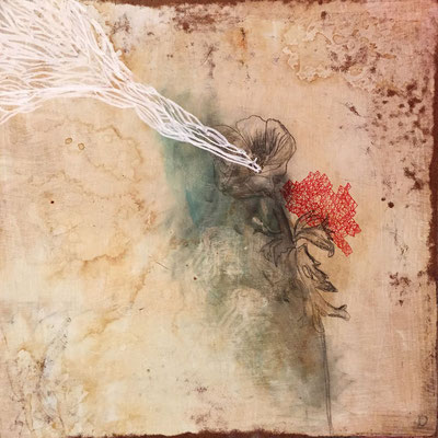 Growth | (12 x 12 in) | acrylic, ink, graphite, coffee and ink on panel | SOLD